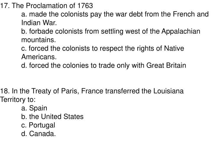 17. The Proclamation of 1763
