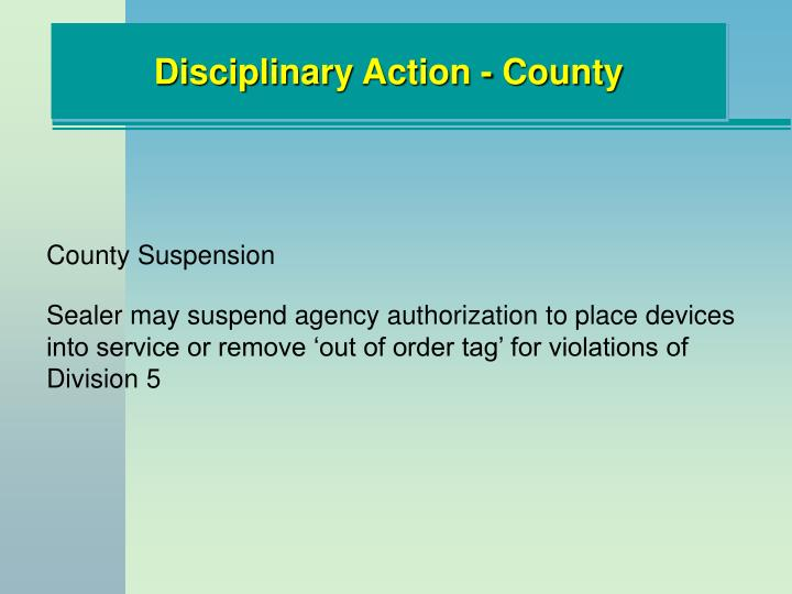 Disciplinary Action - County
