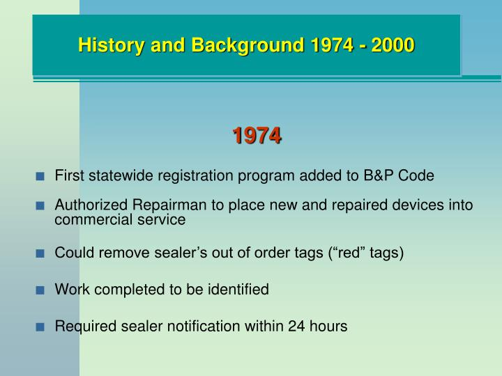 History and Background 1974 - 2000