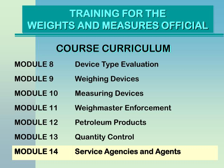 Training for the weights and measures official1