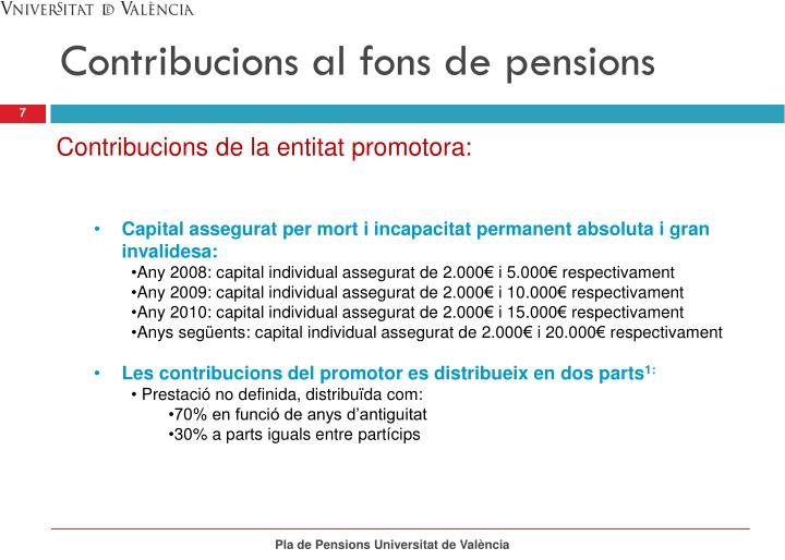 Contribucions al fons de pensions