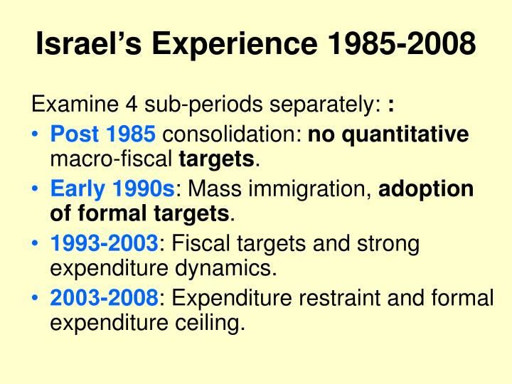 Israel's Experience 1985-2008
