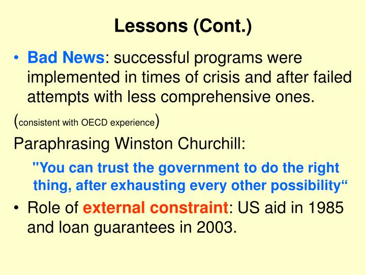 Lessons (Cont.)