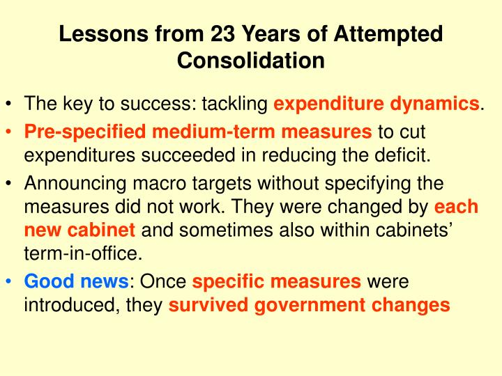 Lessons from 23 Years of Attempted Consolidation