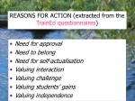 reasons for action extracted from the trained questionnaires