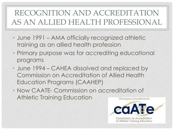 Recognition and Accreditation as an Allied Health Professional