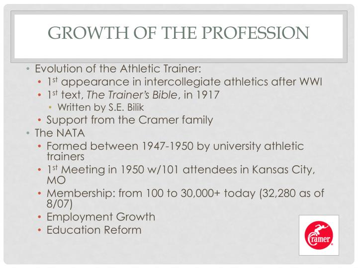 Growth of the Profession