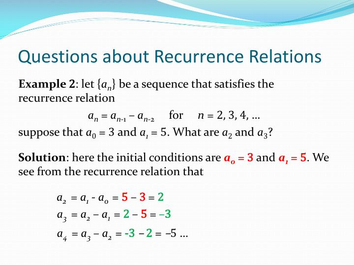 Questions about Recurrence Relations