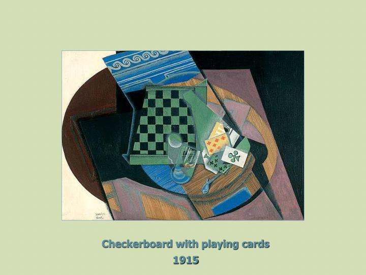 Checkerboard with playing cards