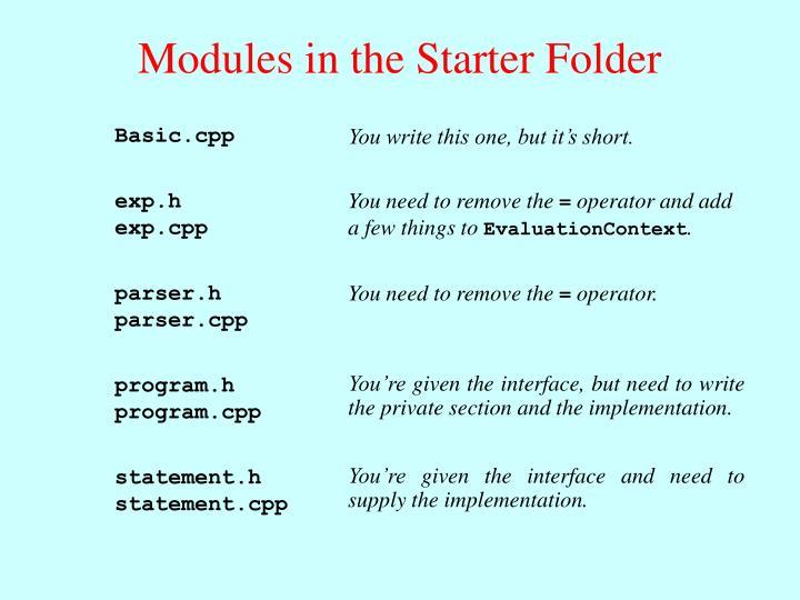 Modules in the Starter Folder