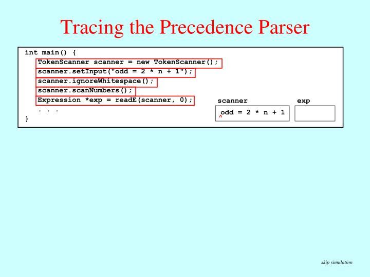 Tracing the Precedence Parser
