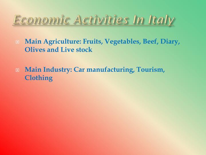 Economic Activities In Italy