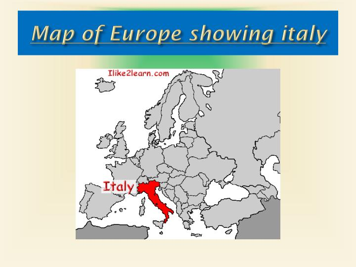 Map of Europe showing italy