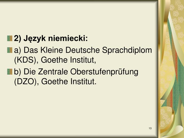 2) Język niemiecki: