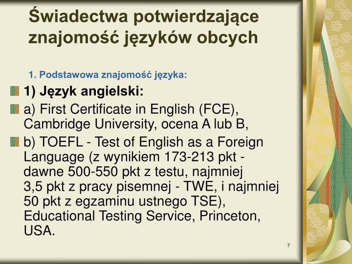 Świadectwa potwierdzające znajomość języków obcych