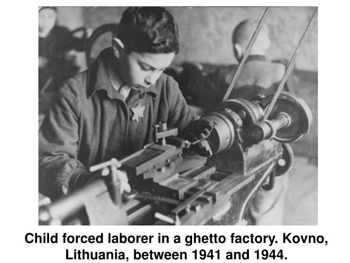 Child forced laborer in a ghetto factory. Kovno, Lithuania, between 1941 and 1944.