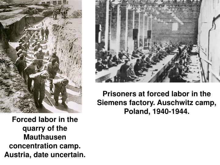 Prisoners at forced labor in the Siemens factory. Auschwitz camp, Poland, 1940-1944.