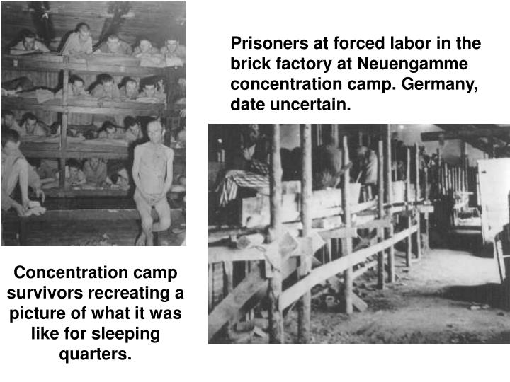 Prisoners at forced labor in the brick factory at Neuengamme concentration camp. Germany, date uncertain.