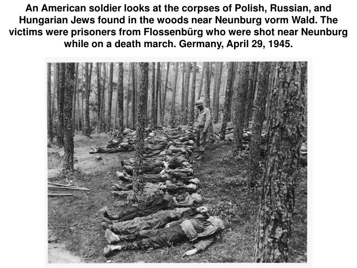 An American soldier looks at the corpses of Polish, Russian, and Hungarian Jews found in the woods near Neunburg vorm Wald. The victims were prisoners from Flossenbürg who were shot near Neunburg while on a death march. Germany, April 29, 1945.
