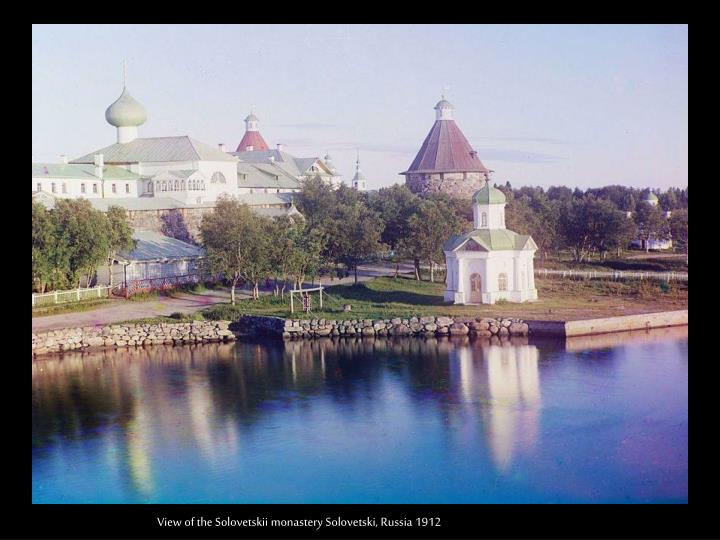 View of the Solovetskii monastery Solovetski, Russia 1912