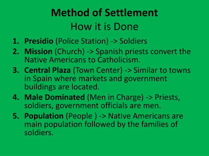 Method of Settlement