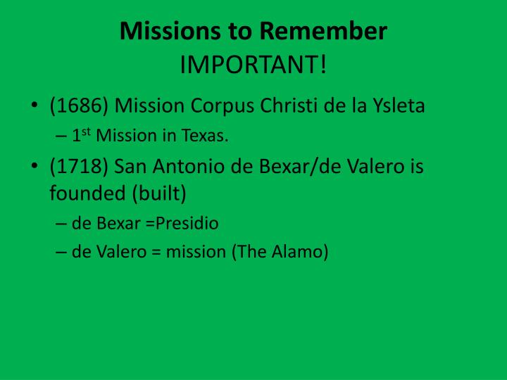 Missions to Remember
