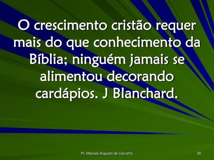 O crescimento cristão requer mais do que conhecimento da Bíblia; ninguém jamais se alimentou decorando cardápios. J Blanchard.