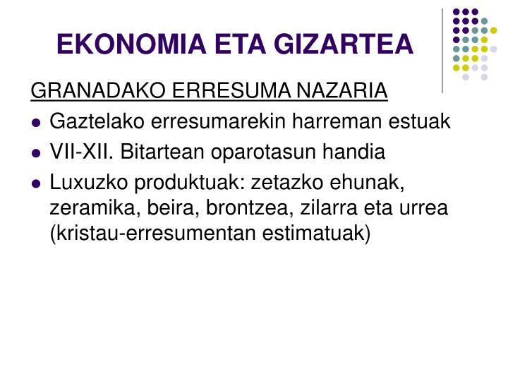 EKONOMIA ETA GIZARTEA