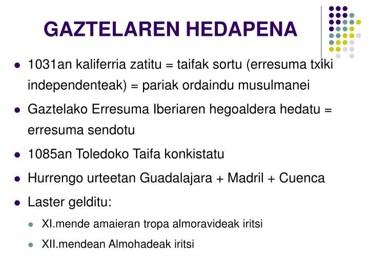 GAZTELAREN HEDAPENA