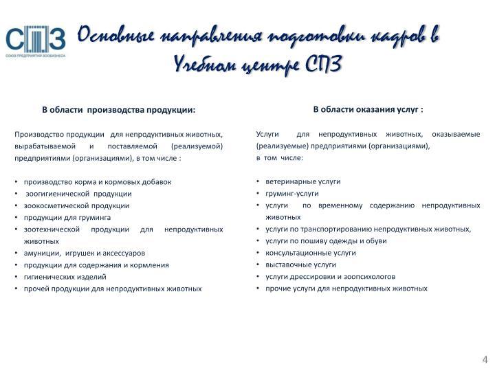 Основные направления подготовки кадров в Учебном центре СПЗ