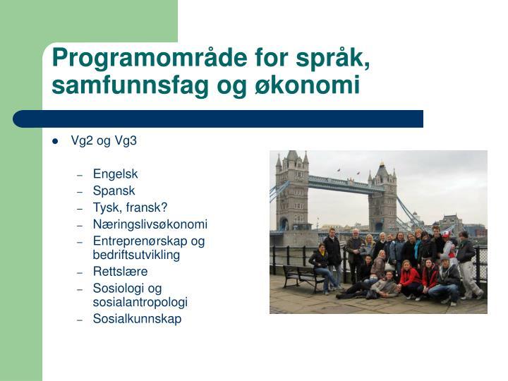 Programområde for språk, samfunnsfag og økonomi