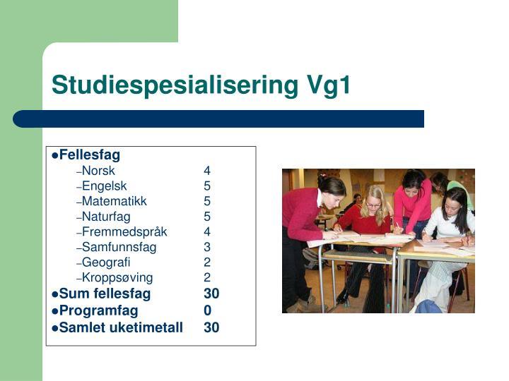 Studiespesialisering Vg1