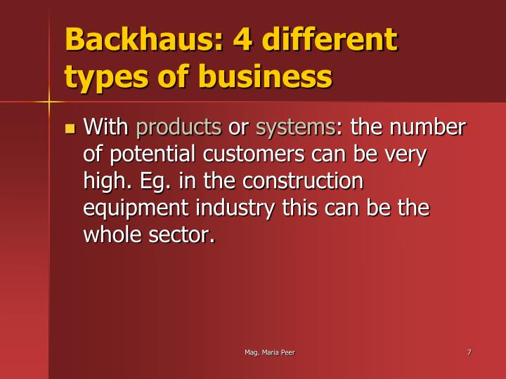 Backhaus: 4 different types of business