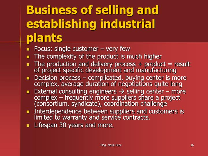 Business of selling and establishing industrial plants