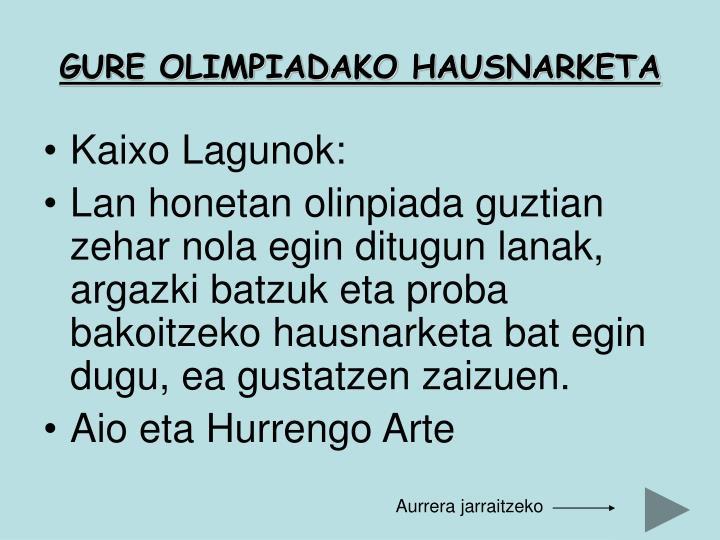 GURE OLIMPIADAKO HAUSNARKETA