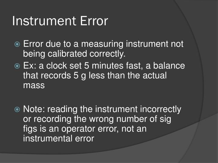 Instrument Error