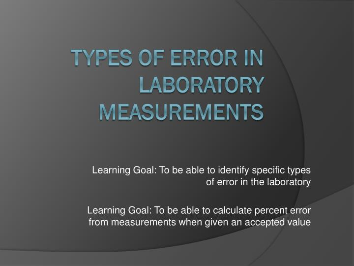 Learning Goal: To be able to identify specific types of error in the laboratory