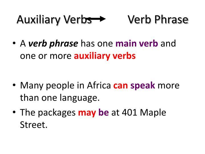 Auxiliary Verbs      Verb Phrase