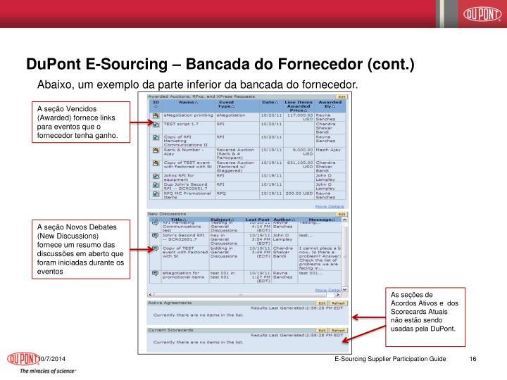 DuPont E-Sourcing – Bancada do Fornecedor (cont.)