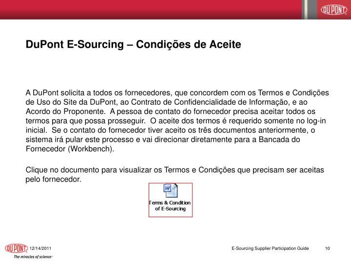 DuPont E-Sourcing – Condições de Aceite
