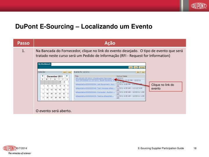 DuPont E-Sourcing – Localizando um Evento