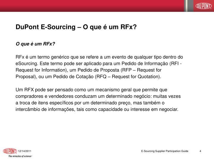 DuPont E-Sourcing – O que é um RFx?