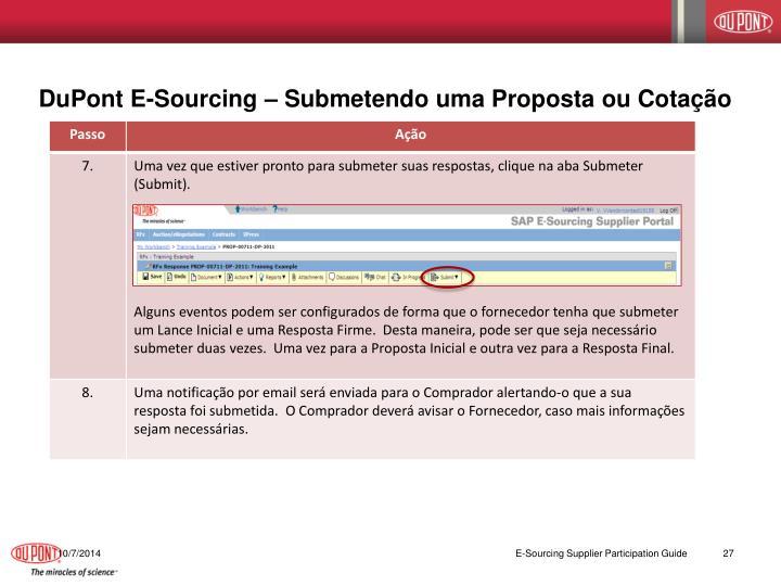 DuPont E-Sourcing – Submetendo uma Proposta ou Cotação