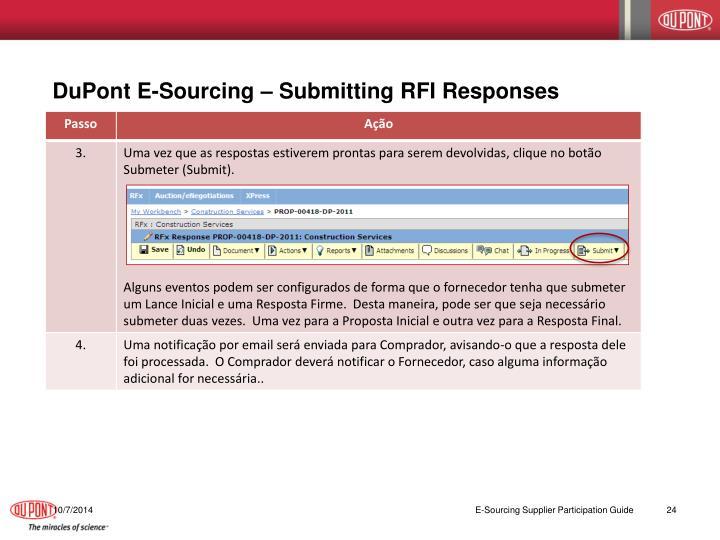 DuPont E-Sourcing – Submitting RFI Responses