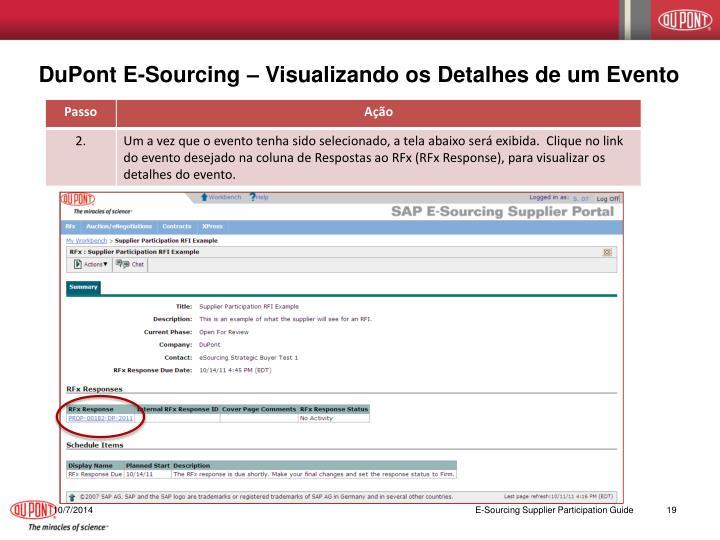 DuPont E-Sourcing – Visualizando os Detalhes de um Evento