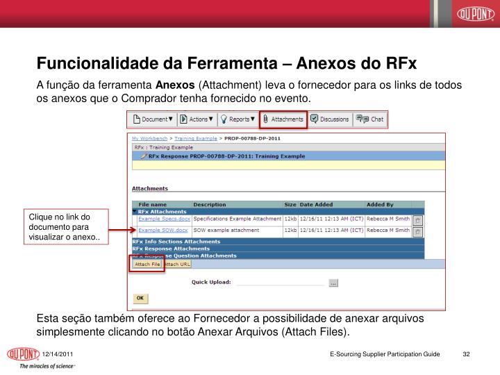 Funcionalidade da Ferramenta – Anexos do RFx