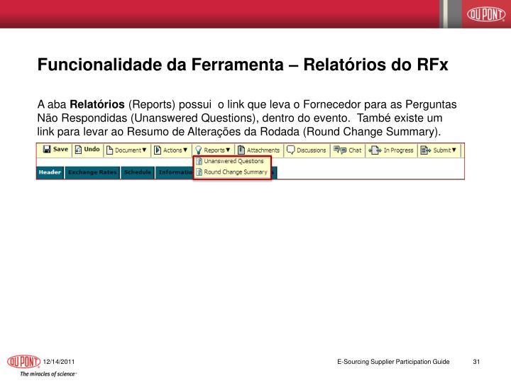 Funcionalidade da Ferramenta – Relatórios do RFx