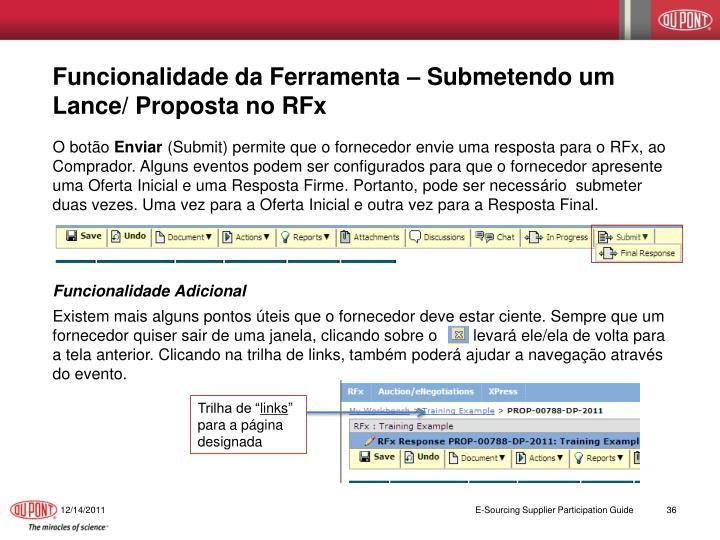Funcionalidade da Ferramenta – Submetendo um Lance/ Proposta no RFx