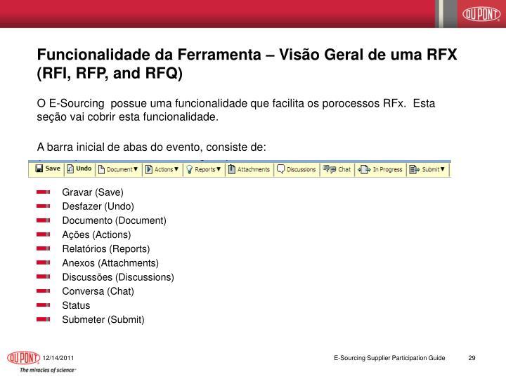 Funcionalidade da Ferramenta – Visão Geral de uma RFX (RFI, RFP, and RFQ)