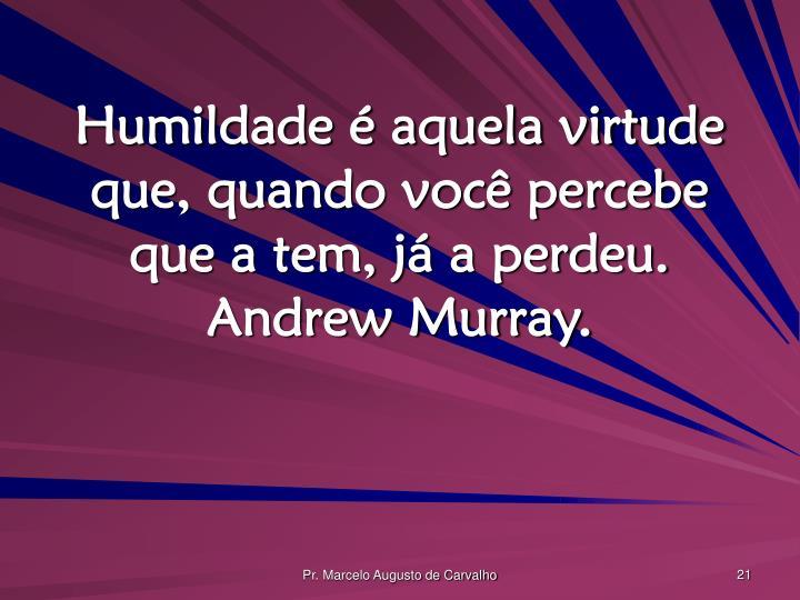 Humildade é aquela virtude que, quando você percebe que a tem, já a perdeu. Andrew Murray.